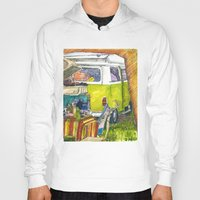 vw bus Hoodies featuring VW Bus Campsite by Barb Laskey Studio