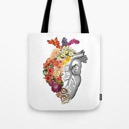 Flower Heart Spring White Tote Bag