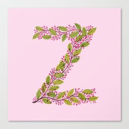 Leafy Letter Z Canvas Print