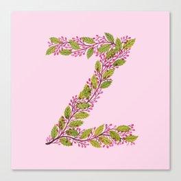 Leafy Letter Z Canvas Print