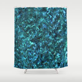 Abalone Shell | Paua Shell | Cyan Blue Tint Shower Curtain