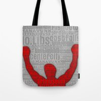rocky Tote Bags featuring Rocky by Artsy B