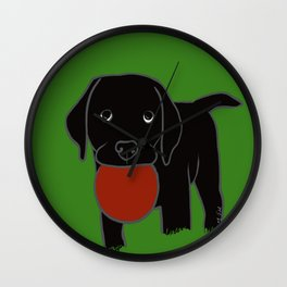 Black Lab Puppy Wall Clock