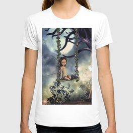 Cute little fairy with kitten on a swing T-shirt
