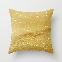 gold glitter Throw Pillows featuring Glitter Gold by Alice Gosling