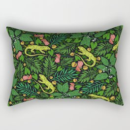 Neon Tropical Green Lizards and Jungle Leaves Rectangular Pillow