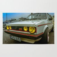 volkswagen Area & Throw Rugs featuring Volkswagen Golf Vintage by Eduard Leasa Photography