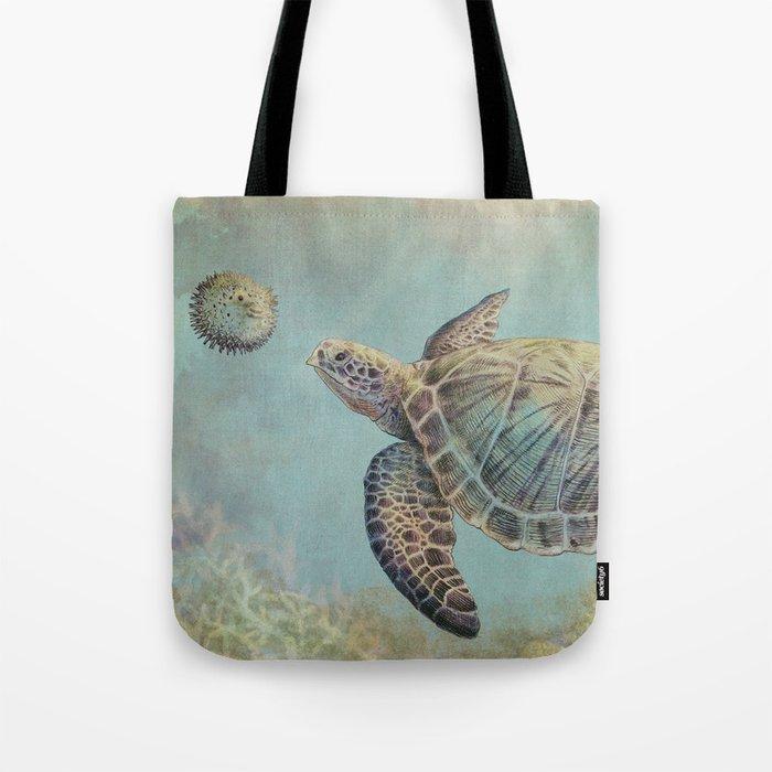A Curious Friend (sea turtle variation) Tote Bag