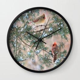 Winter Pair #3 Cardinals Wall Clock