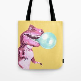 Bubble Gum Pink T-rex in Yellow Tote Bag