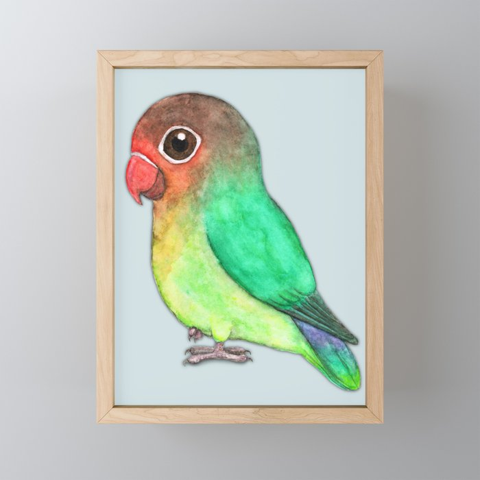 Cute fisheri lovebird Framed Mini Art Print