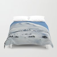 skiing Duvet Covers featuring Back-Country Skiing  - VI by Alaskan Momma Bear