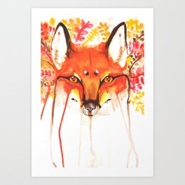 Autumn Red Fox Watercolor Art Print