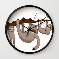 sloths Wall Clocks featuring Cute Illustrated Sloths  by Philly & Brit