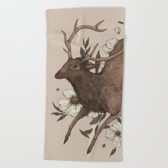 Floral Elk Beach Towel