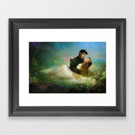 Love me tender - Sad couple in loving embrase in the lake Framed Art Print