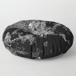 Helsinki Black Map Floor Pillow