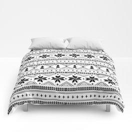 Fair Isle christmas pattern snowflakes camping winter trees christmas tree minimal black and white Comforters