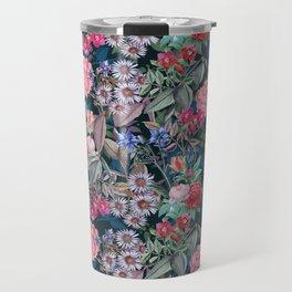 Floral on Dark Background Travel Mug