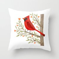 cardinal Throw Pillows featuring Cardinal by Stephanie Fizer Coleman