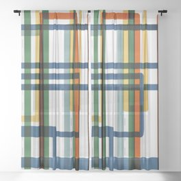 Abstract Lines - 5 Line Metro Map Sheer Curtain