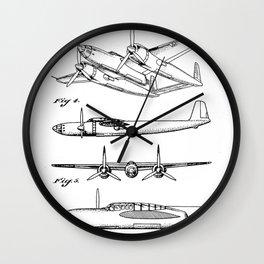 Hughes Lockheed Airplane Patent - Hughes Aviation Art - Black And White Wall Clock
