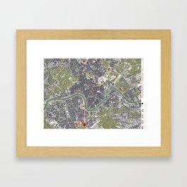 Rome city map engraving Framed Art Print