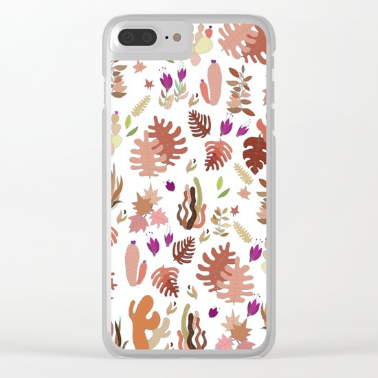 brown leaves and flowers Clear iPhone Case