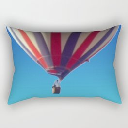 Flying in Blue, White and Red Hot air Balloon Rectangular Pillow