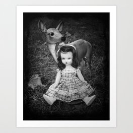 Deer and Nancy Ann Art Print