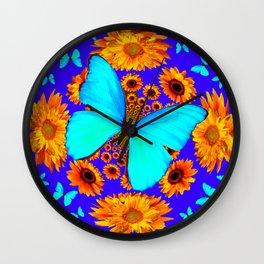 Turquoise Butterflies Golden Sunflowers Blue Abstract Wall Clock