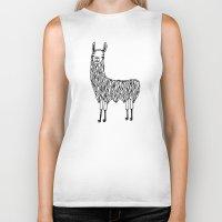 llama Biker Tanks featuring Llama by Lizzie Scott