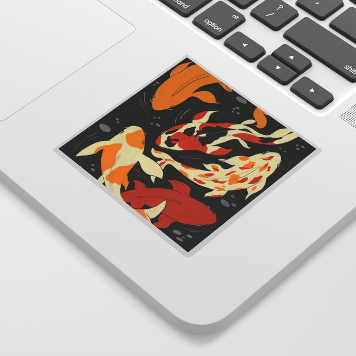 Koi in Black Water Sticker