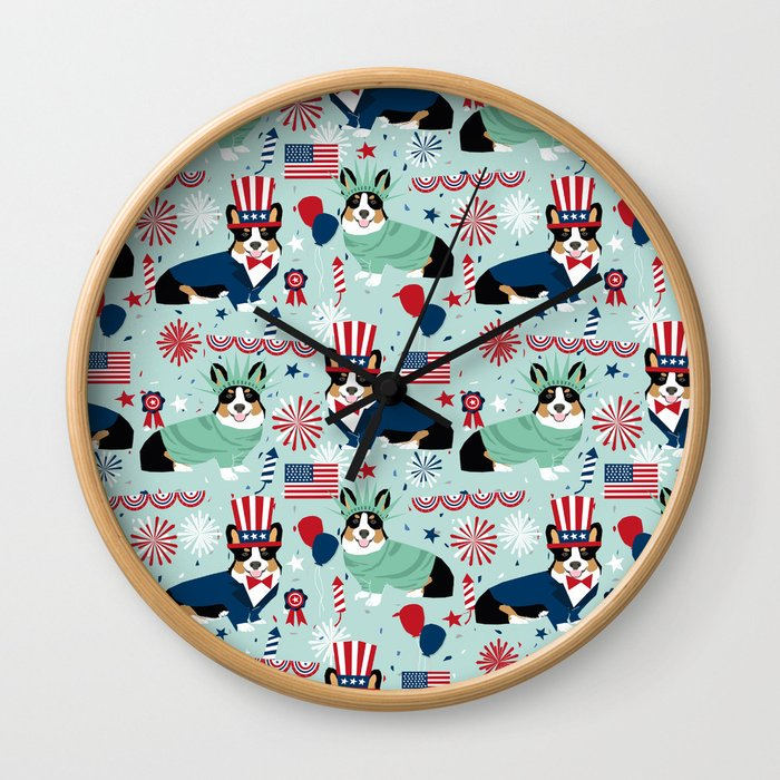 Tri Corgi Fourth of July American Independence Day July 4th Patriotic Corgis Wall Clock