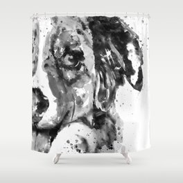Black and White Half Faced Border Collie Shower Curtain