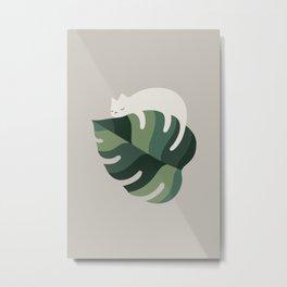Cat and Plant 10 Metal Print
