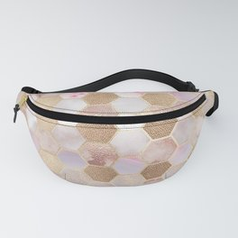 Hexagonal Honeycomb Marble Rose Gold Fanny Pack