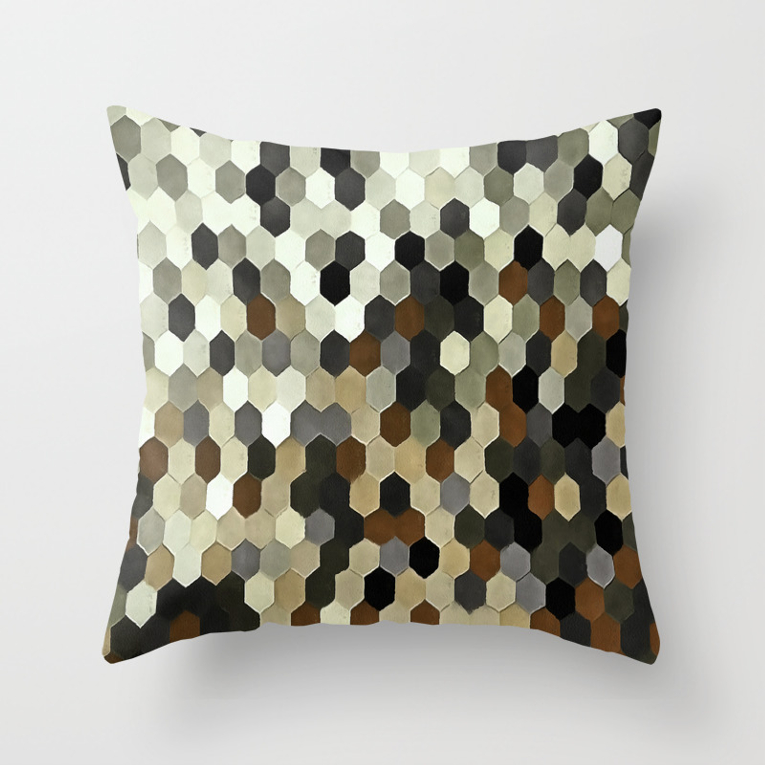 Earth Tone Throw Pillows.Honeycomb Pattern In Neutral Earth Tones Throw Pillow