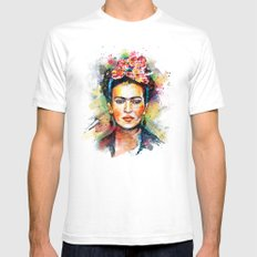 Frida Kahlo White Mens Fitted Tee MEDIUM