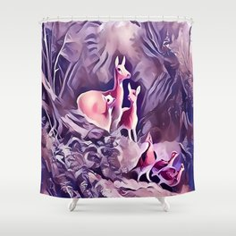 Whitetail Doe and Fawns in the Forest Shower Curtain