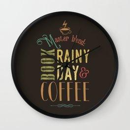 Coffee, book & rainy day Wall Clock