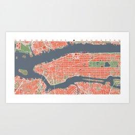 New York city map classic Art Print