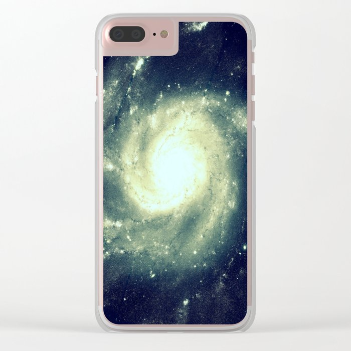 Ivory Teal Pinwheel Spiral Galaxy Space Clear iPhone Case