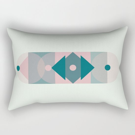 Nr. 2 Geometric Totem Pole Blush Pink and Green Rectangular Pillow