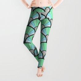 Green Pastel Art Deco Fan Pattern Leggings