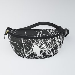 Modern Contemporary Black and White Tree Bird Art A539 Fanny Pack
