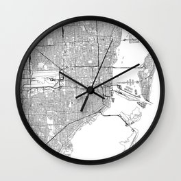 Miami White Map Wall Clock