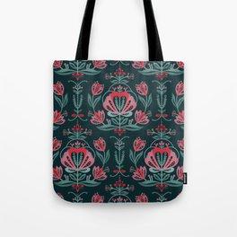 Scandinavian Rose Pattern Tote Bag