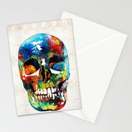 Colorful Skull Art - Aye Candy - By Sharon Cummings Stationery Cards