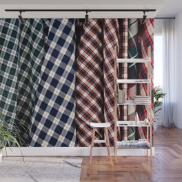 Abstract Of Lumberjack Checkered Textile Of A Variety Of Colors Wall Mural